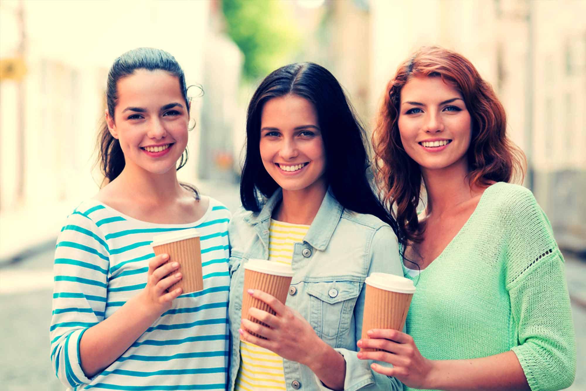 happy coffee customers